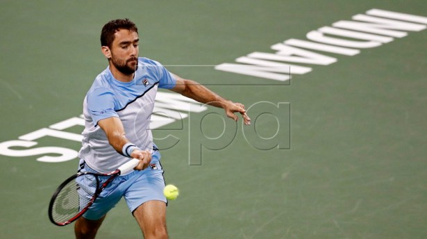 Marin Cilic of Croatia in action against David Goffin of Belgium in the first-ever Eisenhower Cup - a one-night Tie Break Tens event during the BNP Paribas Open tennis tournament at the Indian Wells Tennis Garden in Indian Wells, California, USA, 05 March 2019. The men's and women's final will be played on 17 March 2019.  EPA-EFE/LARRY W. SMITH