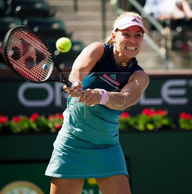 Angelique Kerber of Germany in action against Yulia Putintseva of Kazakhstan during the BNP Paribas Open tennis tournament at the Indian Wells Tennis Garden in Indian Wells, California, USA, 09 March 2019. The men's and women's final will be played, 17 March 2019.  EPA-EFE/JOHN G. MABANGLO