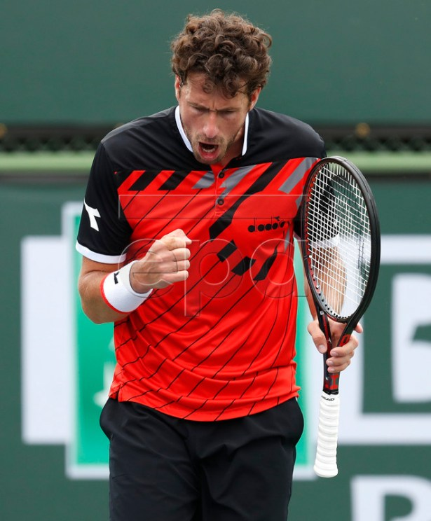 Robin Haase of the Netherlands reacts after winning a point against Andrey Rublev of Russia during the BNP Paribas Open tennis tournament at the Indian Wells Tennis Garden in Indian Wells, California, USA, 10 March 2019. The men's and women's final will be played, 17 March 2019.  EPA-EFE/JOHN G. MABANGLO