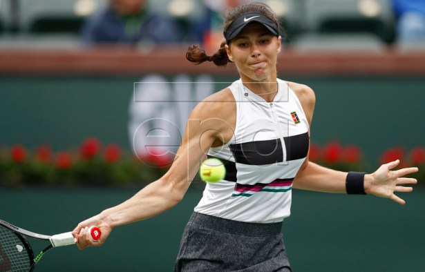 Natalia Vikhlyantseva of Russia in action against Angelique Kerber of Germany during the BNP Paribas Open tennis tournament at the Indian Wells Tennis Garden in Indian Wells, California, USA, 11 March 2019. The men's and women's final will be played, 17 March 2019.  EPA-EFE/LARRY W. SMITH