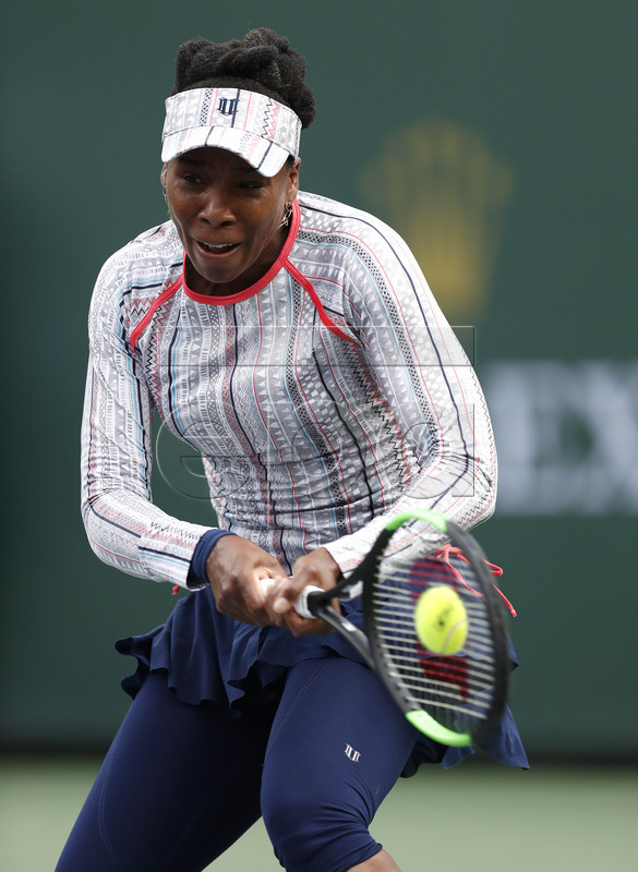 Venus Williams of the US in action against Christina Mchale of the US during the BNP Paribas Open tennis tournament at the Indian Wells Tennis Garden in Indian Wells, California, USA, 11 March 2019. The men's and women's final will be played, 17 March 2019.  EPA-EFE/JOHN G. MABANGLO