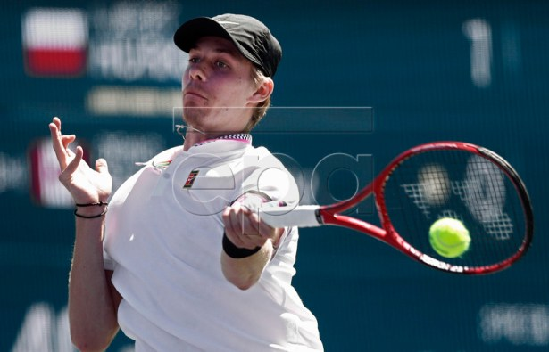 Denis Shapovalov of Canada in action against Hubert Hurkacz of Poland during the BNP Paribas Open tennis tournament at the Indian Wells Tennis Garden in Indian Wells, California, USA, 13 March 2019. The men's and women's final will be played, 17 March 2019.  EPA-EFE/LARRY W. SMITH