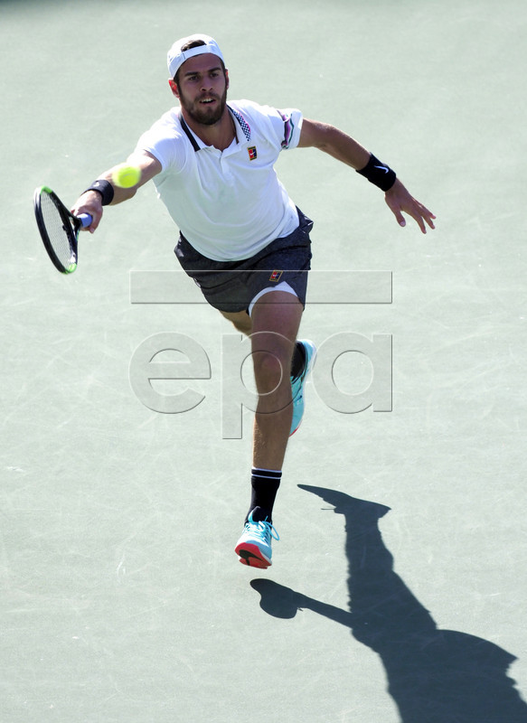 Karen Khachanov of Russia in action against Rafael Nadal of Spain during the BNP Paribas Open tennis tournament at the Indian Wells Tennis Garden in Indian Wells, California, USA, 15 March 2019. The men's and women's final will be played, 17 March 2019.  EPA-EFE/RAY ACEVEDO