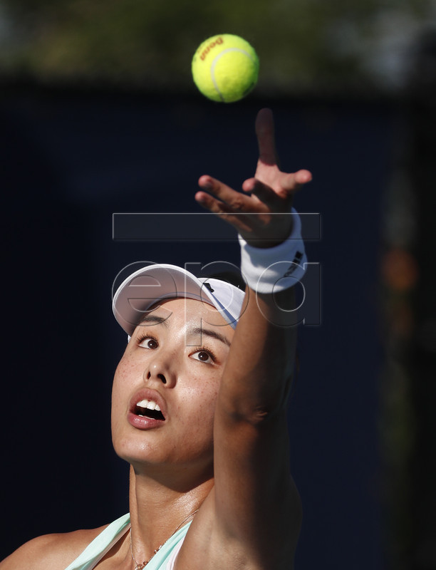 Qiang Wang of China in action against Johanna Konta of Britain during their match at the Miami Open tennis tournament in Miami, Florida, USA, 22 March 2019.  EPA-EFE/RHONA WISE