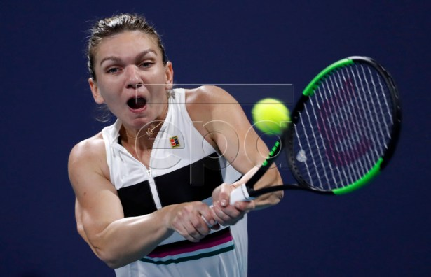 Simona Halep of Romania in action against Taylor Townsend of the USA during their women's singles match at the Miami Open tennis tournament in Miami, Florida, USA, 22 March 2019.  EPA-EFE/RHONA WISE