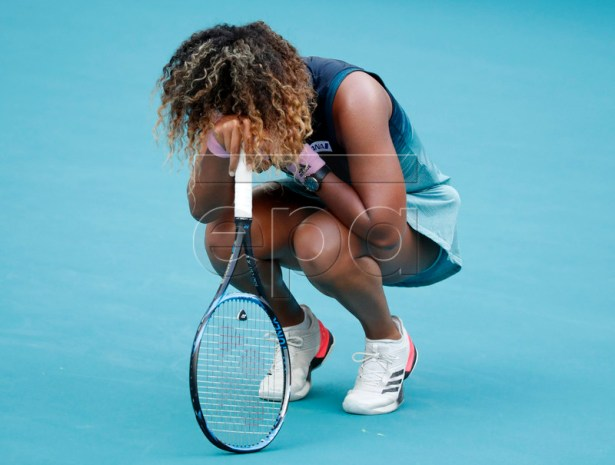 Naomi Osaka of the Japan reacts during her match against Hsieh Su-wei of Taiwan at the Miami Open tennis tournament in Miami, Florida, USA, 23 March 2019.  EPA-EFE/JASON SZENES