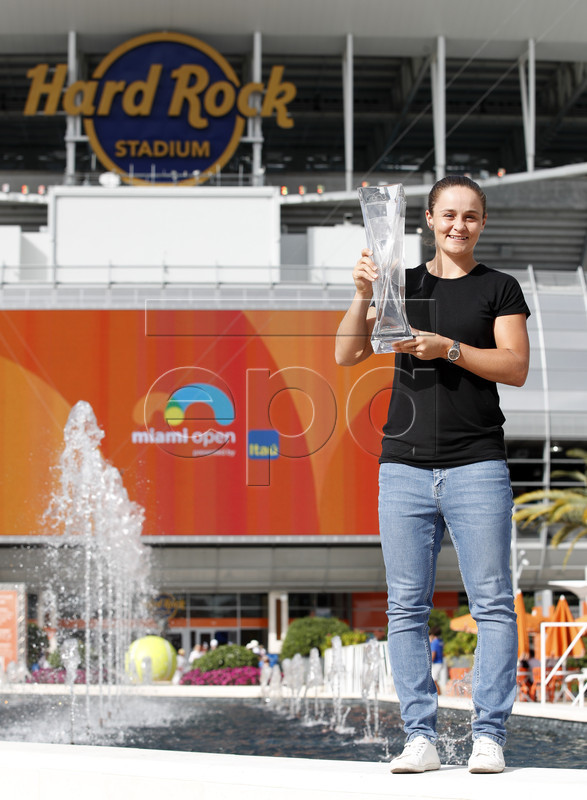Ashleigh Barty of Australia, poses with the trophy after defeating Karolina Pliskova, of the Czech Republic, in the singles final of the Miami Open tennis tournament in Miami, Florida, USA, 30 March 2019.  EPA-EFE/JASON SZENES