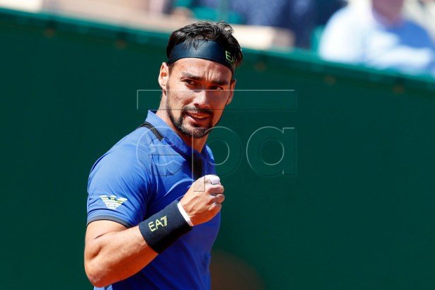 Fabio Fognini of Italy reacts during his first round match against  Andrey Rublev of Russia at the Monte-Carlo Rolex Masters tournament in Roquebrune Cap Martin, France, 15 April 2019.  EPA-EFE/SEBASTIEN NOGIER