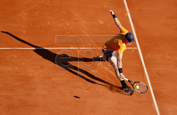 Kyle Edmund of Britain in action during his first round match against Diego Schwartzman of Argentina at the Monte-Carlo Rolex Masters tournament in Roquebrune Cap Martin, France, 15 April 2019.  EPA-EFE/SEBASTIEN NOGIER