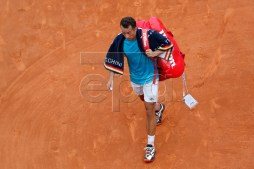 Philipp Kohlschreiber of Germany leaves the court after losing his second round match against Novak Djokovic of Serbia at the Monte-Carlo Rolex Masters tournament in Roquebrune Cap Martin, France, 16 April 2019.  EPA-EFE/SEBASTIEN NOGIER