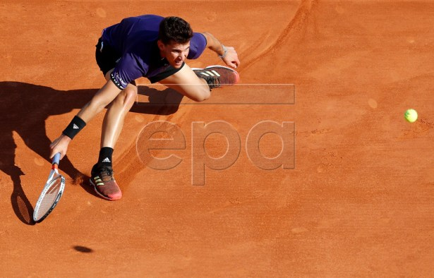 Dominic Thiem of Austria in action during his second round match against Martin Klizan of Slovakia at the Monte-Carlo Rolex Masters tournament in Roquebrune Cap Martin, France, 17 April 2019. EPA-EFE/SEBASTIEN NOGIER