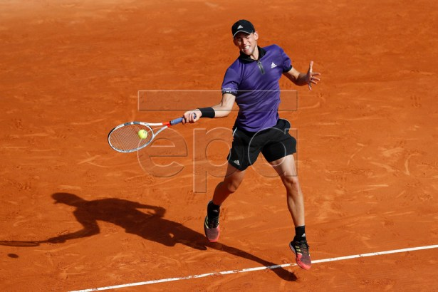 Dominic Thiem of Austria in action during his third round match against Dusan Lajovic of Serbia at the Monte-Carlo Rolex Masters tournament in Roquebrune Cap Martin, France, 18 April 2018.  EPA-EFE/SEBASTIEN NOGIER