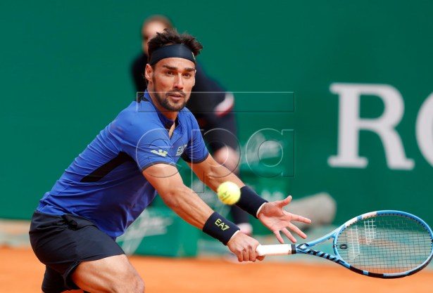 Fabio Fognini of Italy returns the ball to Rafael Nadal of Spain during their semi final match at the Monte-Carlo Rolex Masters tournament in Roquebrune Cap Martin, France, 20 April 2018.  EPA-EFE/SEBASTIEN NOGIER