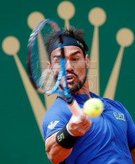 Fabio Fognini of Italy returns the ball to Dusan Lajovic of Serbia during their final match at the Monte-Carlo Rolex Masters tournament in Roquebrune Cap Martin, France, 21 April 2019.  EPA-EFE/SEBASTIEN NOGIER
