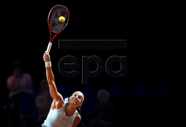 Caroline Garcia of France in action during her first round match against Anett Kontaveit of Estonia at the Porsche Tennis Grand Prix tournament in Stuttgart, Germany, 24 April 2019. EPA-EFE/RONALD WITTEK