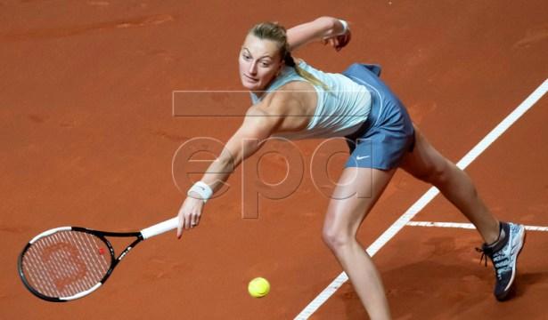 Petra Kvitova of the Czech Republic in action during her quarter final match against Anastasija Sevastova of Latvia at the Porsche Tennis Grand Prix tournament in Stuttgart, Germany, 26 April 2019.  EPA-EFE/RONALD WITTEK