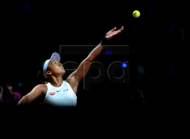 Naomi Osaka of Japan in action during her quarter final match against Donna Vekic of Croatia at the Porsche Tennis Grand Prix tournament in Stuttgart, Germany, 26 April 2019.  EPA-EFE/RONALD WITTEK