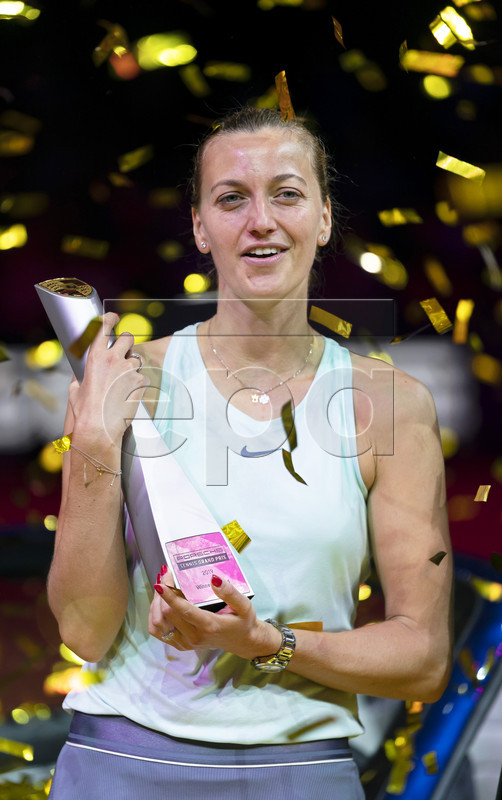Petra Kvitova of the Czech Republic poses with her trophy after winning her final match against Anett Kontaveit of Estonia at the Porsche Tennis Grand Prix tournament in Stuttgart, Germany, 28 April 2019.  EPA-EFE/RONALD WITTEK
