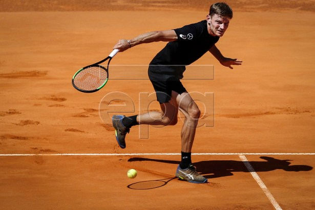 David Goffin of Belgium in action during his third round match of the Estoril Open Tennis tournament against João Sousa of Portugal , in Cascais, near Lisbon, Portugal, 02 May 2019.  EPA-EFE/RODRIGO ANTUNES