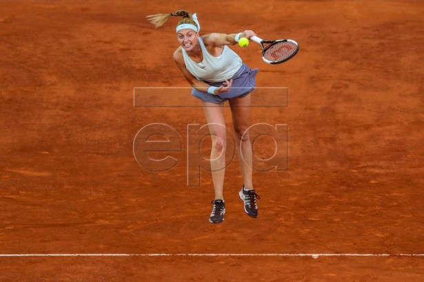 Petra Kvitova of Czech Republic in action against Sofia Kenin of the USA during their first round match of the Mutua Madrid Open 2019 tennis tournament at Caja Magica in Madrid, Spain, 04 April 2019. EPA-EFE/JUANJO MARTIN