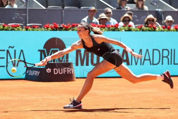 Petra Martic of Croatia in action during her first round match against Garbine Muguruza of Spain at the Mutua Madrid Open tennis tournament, in Madrid, Spain, 05 May 2019.  EPA-EFE/KIKO HUESCA