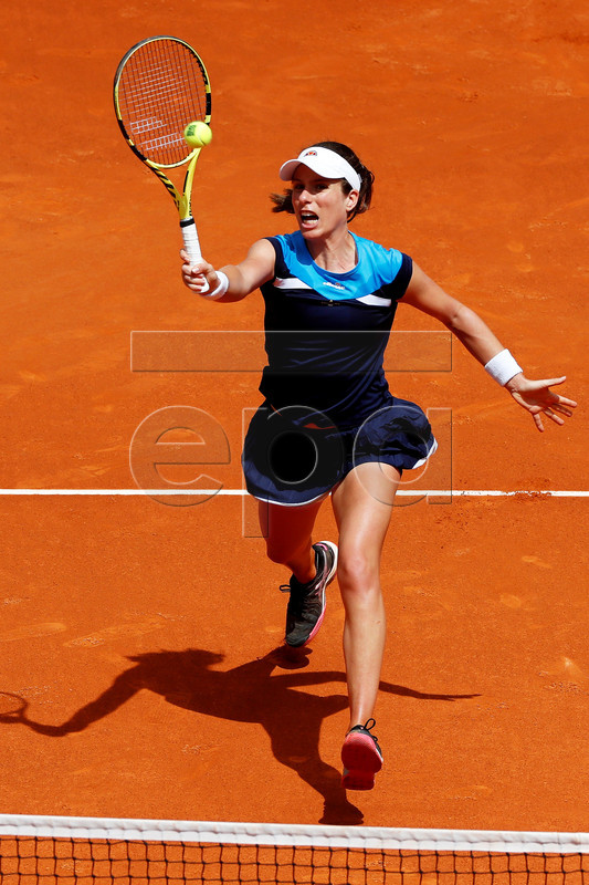 Johanna Konta of Britain in action against Simona Halep of Romania during their second round match of the Mutua Madrid Open tennis tournament at the Caja Magica complex in Madrid, Spain, 07 May 2019.  EPA-EFE/CHEMA MOYA