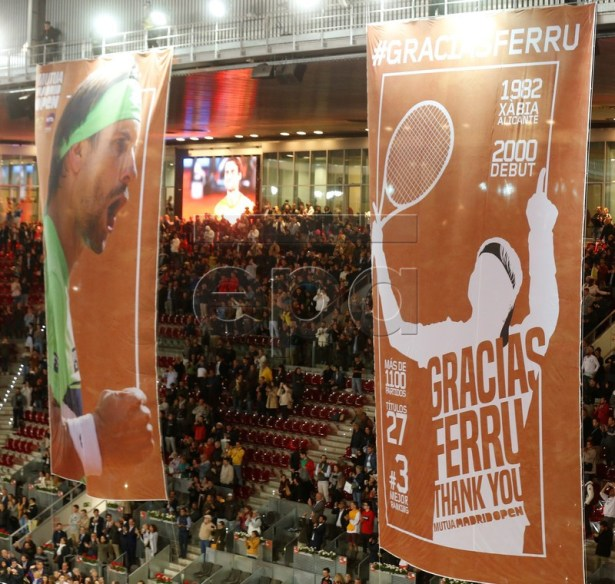 Two banners during the tribute to Spanish David Ferrer after his Mutua Madrid Open's tournament round of 32 game against German Alexander Zverev played at Caja Magica tennis complex, in Madrid, Spain, 08 May 2019. This has been the last match of Ferrer as a professional tennis player.  EPA-EFE/KIKO HUESCA