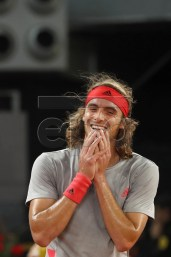 Stefanos Tsitsipas of Greece reacts after defeating Spanish Rafael Nadal during their Mutua Madrid Open tennis semifinal game played at Caja Magica in Madrid, Spain, 11 May 2019. EPA-EFE/JAVIER LIZON