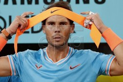 Rafael Nadal of Spain during the Mutua Madrid Open tennis semifinal game against Stefanos Tsitsipas of Greece played at Caja Magica in Madrid, Spain, 11 May 2019.  EPA-EFE/JAVIER LIZON