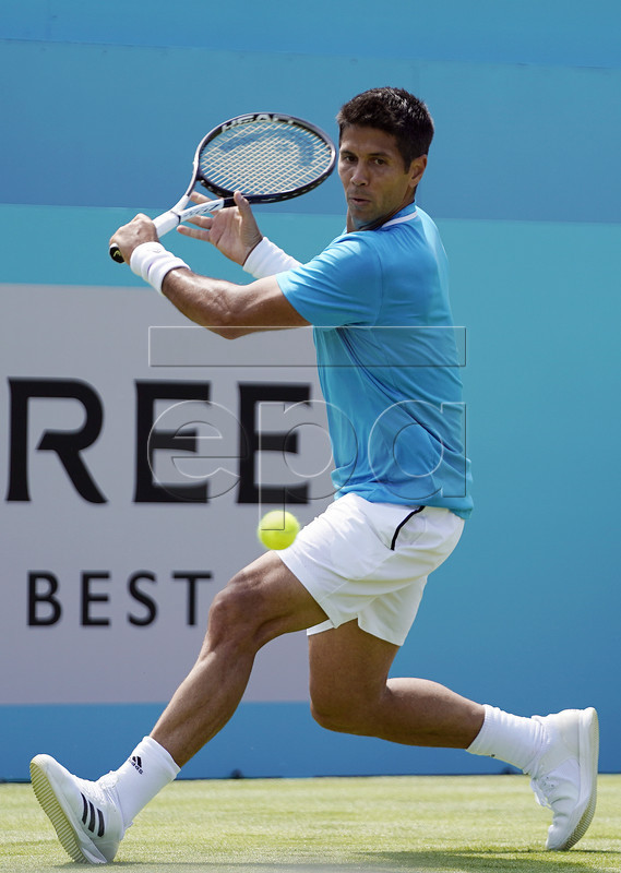 Fernando Verdasco of Spain returns to Russia's Daniil Medvedev during their round 32 match at the Fever Tree Championship at Queen's Club in London, Britain, 17 June 2019. The tournament runs from 17 till 23 June 2019. EPA-EFE/WILL OLIVER