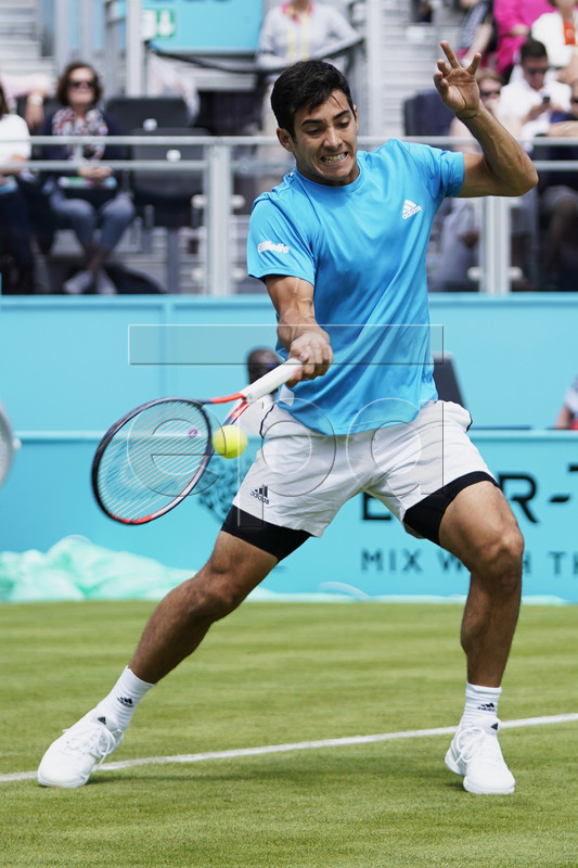 Chile's Cristian Garin in action during his round of 32 match against Croatia's Marin Cilic at the Fever Tree Championship at Queen's Club in London, Britain, 17 June 2019. The tournament runs from 17th June till 23 June 2019. EPA-EFE/WILL OLIVER