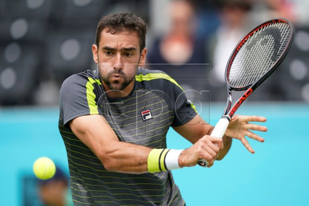 Croatia's Marin Cilic in action during his round 16 match against Argentina's Diego Schwartzman at the Fever Tree Championship at Queen's Club in London, Britain, 20 June 2019. EPA-EFE/WILL OLIVER