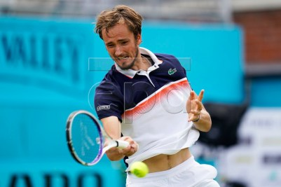 Russia's Daniil Medvedev in action against Argentina's Diego Schwartzman during their quarter final match at the Fever Tree Championship at Queen's Club in London, Britain, 21 June 2019. EPA-EFE/WILL OLIVER