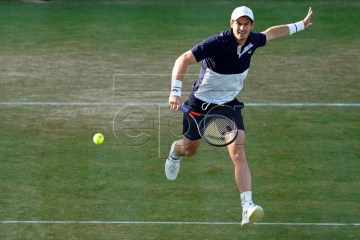 Britain's Andy Murray in action during his doubles quarter final match with Feliciano Lopez of Spain against Britain's Dan Evans and Ken Skupski at the Fever Tree Championship at Queen's Club in London, Britain, 22 June 2019. EPA-EFE/WILL OLIVER