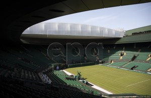 General view of the number 1 court with the new roof construction at the All England Lawn Tennis Championships in Wimbledon, London 28 June 2019. EPA-EFE/PETER KLAUNZER EDITORIAL USE ONLY; NO SALES, NO ARCHIVES
