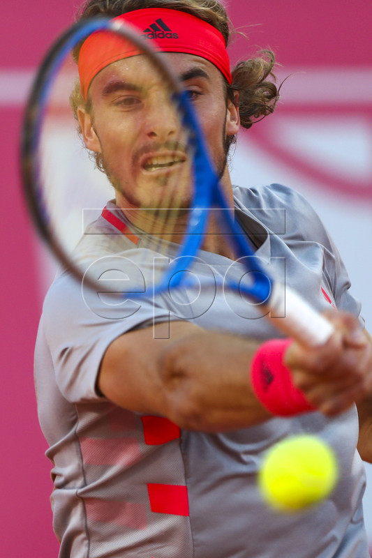 Stefanos Tsitsipas of Greece reacts during his second round match of the Estoril Open Tennis tournament against Guido Andreozzi of Argentina, in Cascais, near Lisbon, Portugal, 01 May 2019.  EPA-EFE/JOSE SENA GOULAO