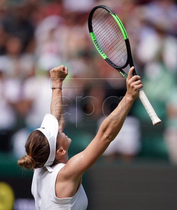 Simona Halep of Romania celebrates her straight set win over Aliaksandra Sasnovich of Belarus in their first round match during the Wimbledon Championships at the All England Lawn Tennis Club, in London, Britain, 01 July 2019. EPA-EFE/NIC BOTHMA EDITORIAL USE ONLY/NO COMMERCIAL SALES