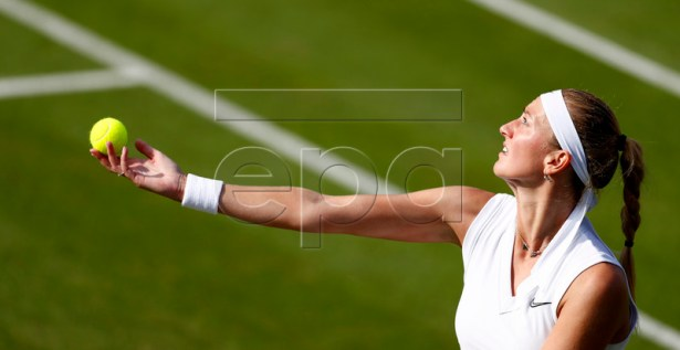 Petra Kvitova of Czech Republic in action against Ons Jabeur of Tunisia during their first round match at the Wimbledon Championships at the All England Lawn Tennis Club, in London, Britain, 02 July 2019. EPA-EFE/NIC BOTHMA EDITORIAL USE ONLY/NO COMMERCIAL SALES