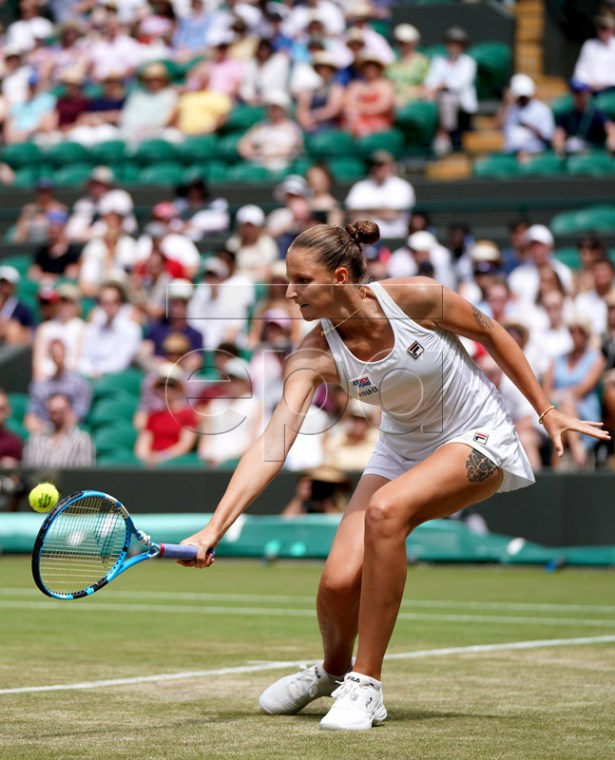 Karolina Pliskova of the Czech Republic in action against Su-Wei Hsieh of Taiwan during their third round match at the Wimbledon Championships at the All England Lawn Tennis Club, in London, Britain, 05 July 2019. EPA-EFE/NIC BOTHMA EDITORIAL USE ONLY/NO COMMERCIAL SALES