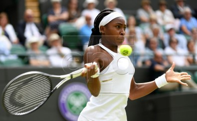 Cori Gauff of the USA in action against Simona Halep of Romania during their fourth round match for the Wimbledon Championships at the All England Lawn Tennis Club, in London, Britain, 08 July 2019. EPA-EFE/ANDY RAIN EDITORIAL USE ONLY/NO COMMERCIAL SALES