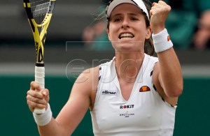 Johanna Konta of Britain celebrates her win over Petra Kvitova of the Czech Republic in their fourth round match during the Wimbledon Championships at the All England Lawn Tennis Club, in London, Britain, 08 July 2019. EPA-EFE/NIC BOTHMA EDITORIAL USE ONLY/NO COMMERCIAL SALES