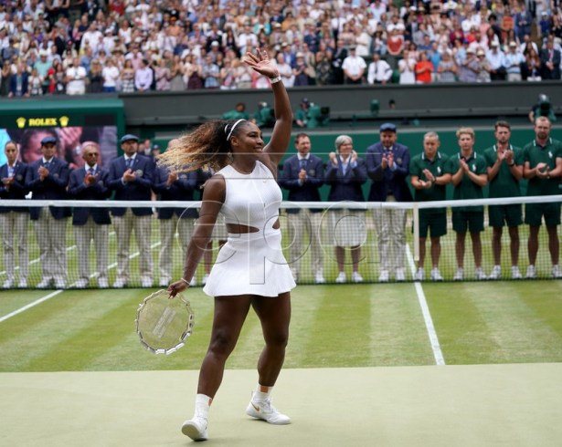 Serena Williams of the USA reacts after losing against Simona Halep of Romania during their final match for the Wimbledon Championships at the All England Lawn Tennis Club, in London, Britain, 13 July 2019. EPA-EFE/NIC BOTHMA EDITORIAL USE ONLY/NO COMMERCIAL SALES