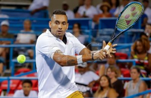 Nick Kyrgios of Australia in action against Yoshihito Nishioka of Japan during the Citi Open tennis tournament at the Rock Creek Park Tennis Center in Washington, DC, USA, 01 August 2019. EPA-EFE/ERIK S. LESSER