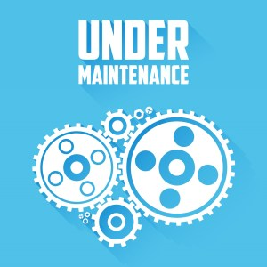 White Cogwheels isolated on a blue background. Under maintenance website page message. Flat style with long shadows. Modern trendy design. Vector illustration.