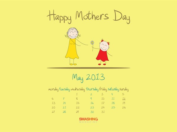 Mothers Day-2013 calendar desktop wallpapers