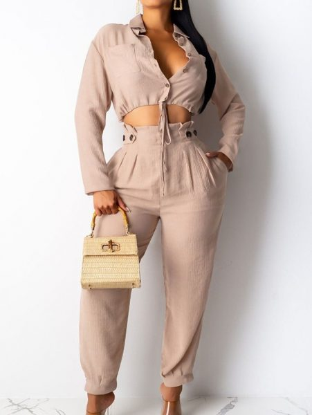 crop top and curvy girls ericdress plain pocket two piece set