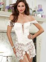 SATIN AND LACE CHEMISE & THONG