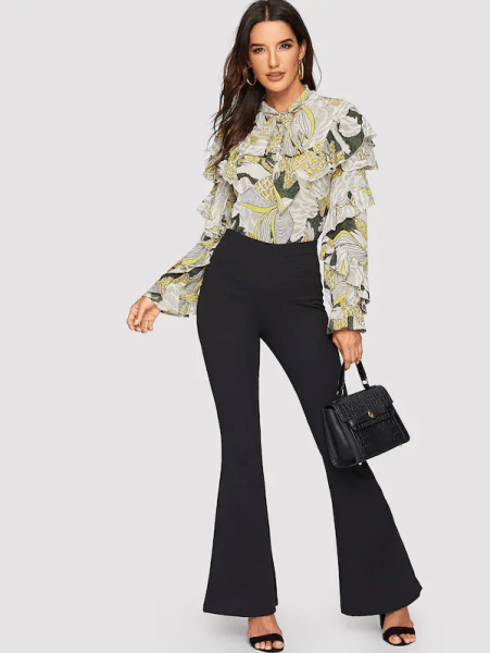 7 Comfortable and Casual Spring Outfit Ideas You Must Try SHEIN Tie Neck Mixed Print Ruffle Trim Top