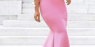 tbdress black woman wearing a beautiful sleeveless pink gown