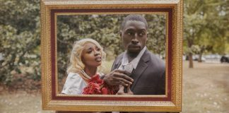 black love couple wedding day in frame